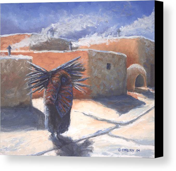 Adobe Canvas Print featuring the painting Winter's Work by Jerry McElroy