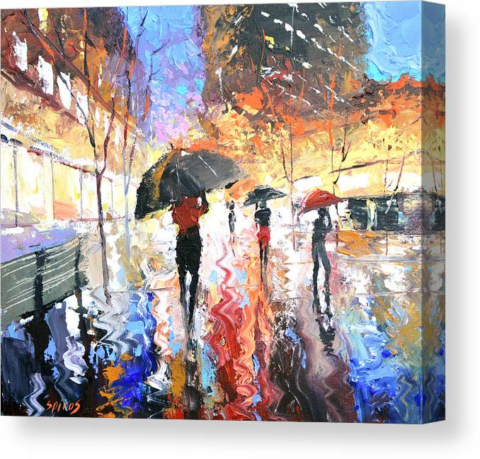 Landscape Canvas Print featuring the painting Rain by Dmitry Spiros