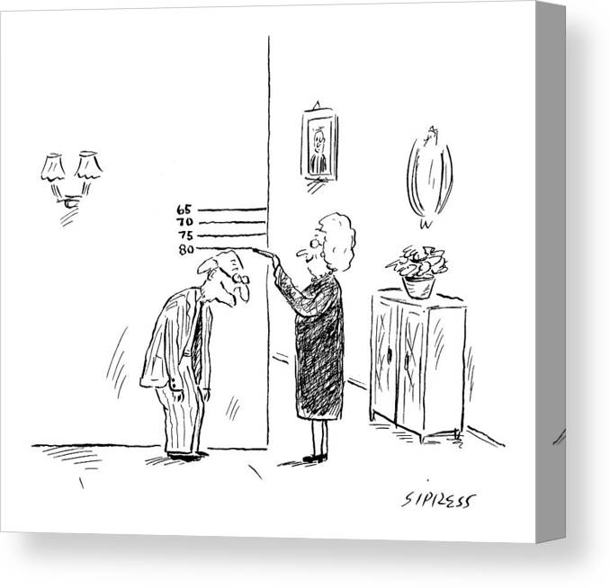 Age Old Medical Fitness  (old Woman Measures Man's Age By His Height.) 121938 Dsi David Sipress Canvas Print featuring the drawing New Yorker February 27th, 2006 by David Sipress