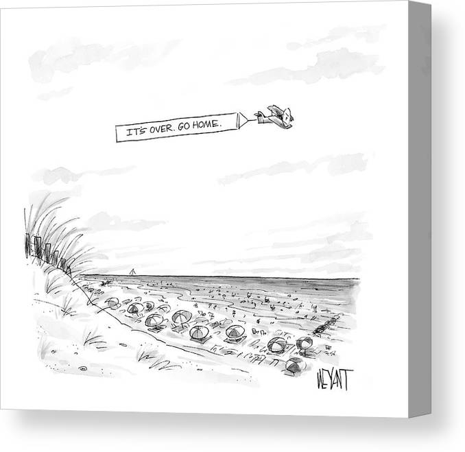Seasons Summer Seashore  (plane Flying Over Crowded Beach With Message That Reads Canvas Print featuring the drawing New Yorker September 12th, 2005 by Christopher Weyant