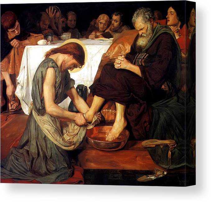 Christ Washing Peter's Feet Canvas Print featuring the painting Christ Washing Peter's Feet by Ford Madox Brown