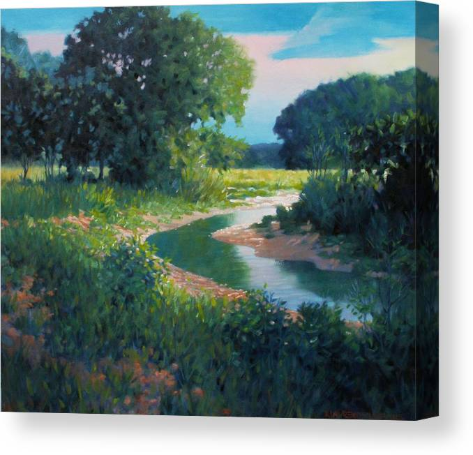 Landscape Canvas Print featuring the painting First Light by Kevin Lawrence Leveque
