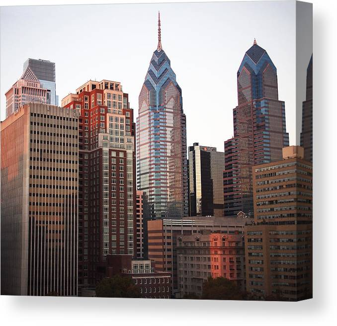 Philadelphia Canvas Print featuring the photograph Five O'clock Shadows by Rona Black