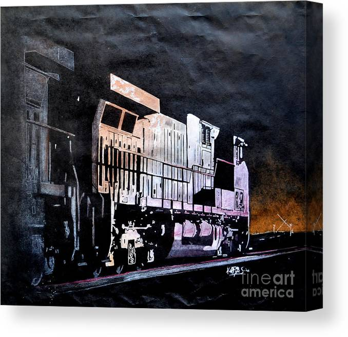 Night Canvas Print featuring the drawing Night Train by Paul Kuras