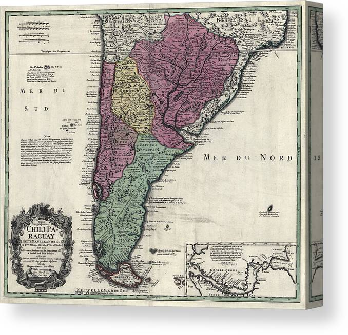 America Map With Compass.Southern South America Map 1733 Canvas Print Canvas Art By Compass