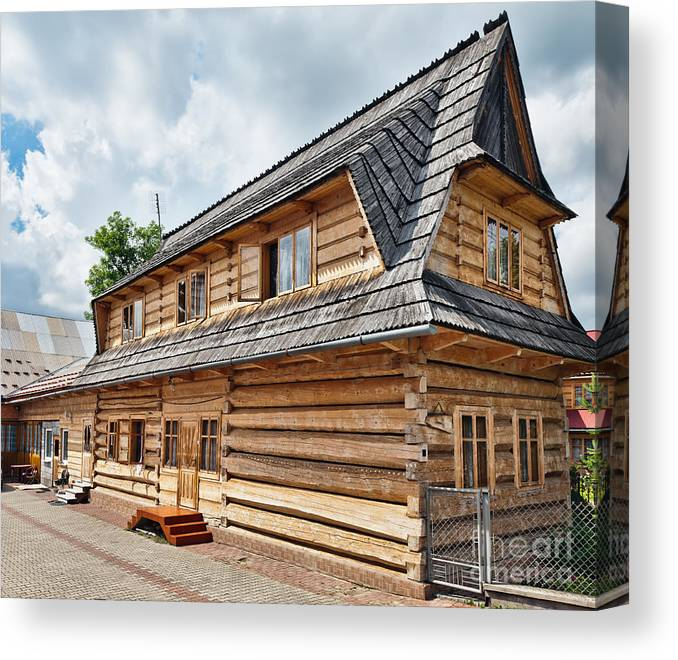 Poland Canvas Print featuring the photograph Traditional House In The High Tatra Mountains Poland by Frank Bach