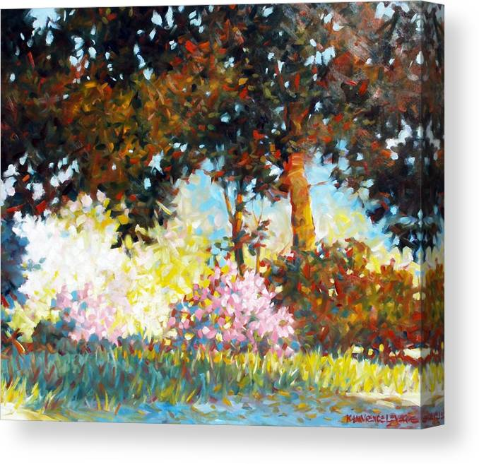 Landscape Canvas Print featuring the painting Azaleas by Kevin Lawrence Leveque