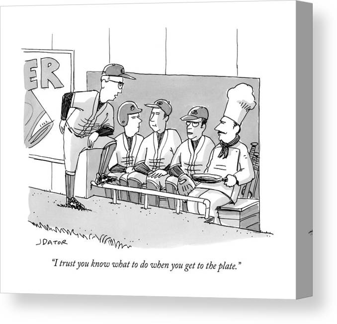 Cctk Canvas Print featuring the drawing A Coach Is Standing By A Baseball Dugout by Joe Dator