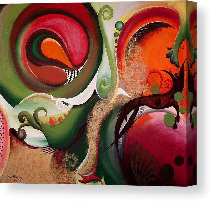 Abstract Canvas Print featuring the painting Dawn Of Creation by Olga Smith