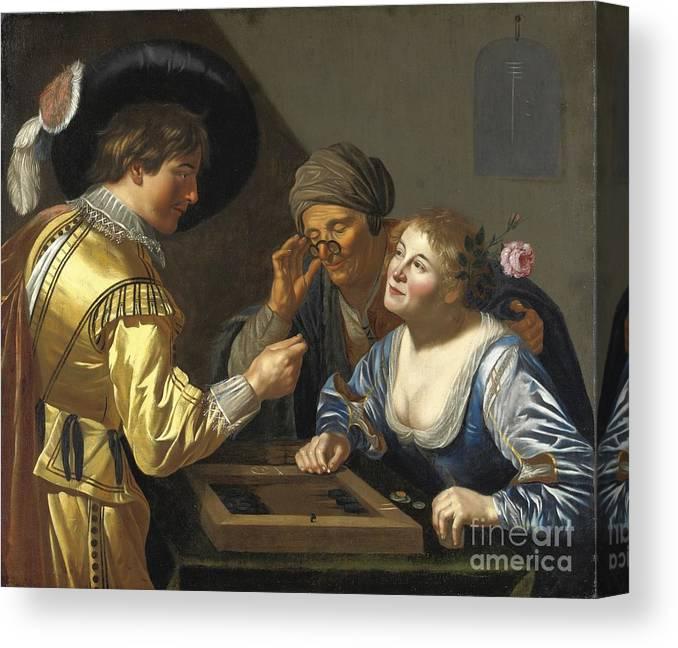 Van Bijlert. Jan (circle) - Giocatori Di Backgammon Canvas Print featuring the painting Giocatori Di Backgammon by Celestial Images