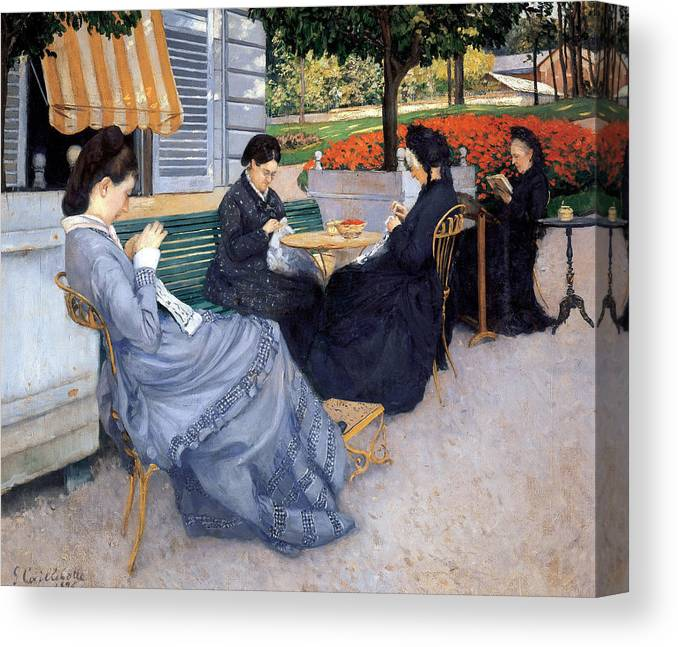 Gustave Caillebotte Canvas Print featuring the painting Ladies Sewing by Gustave Caillebotte