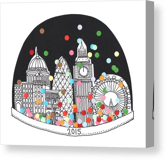 Happy New Year Canvas Print featuring the drawing New Year by Isobel Barber