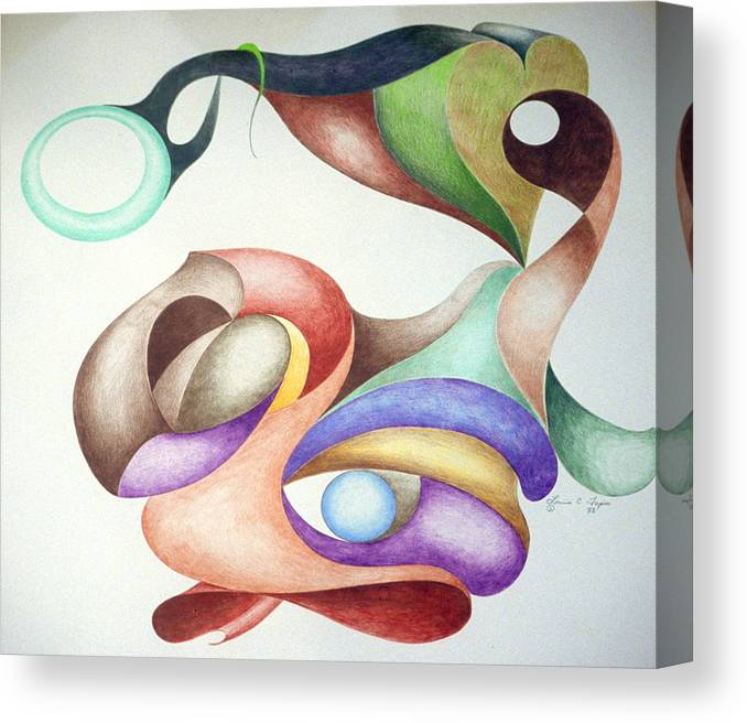 Spontaneous Canvas Print featuring the drawing Picasso Parrot by Lonnie Tapia