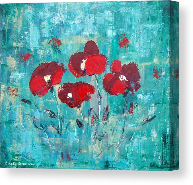 Red Canvas Print featuring the painting Red Poppies by Gina De Gorna