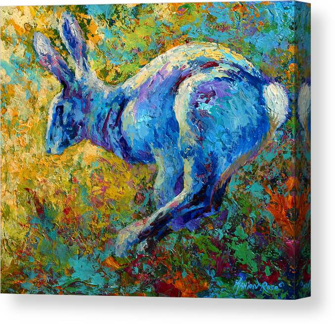Rabbit Canvas Print featuring the painting Running Hare by Marion Rose
