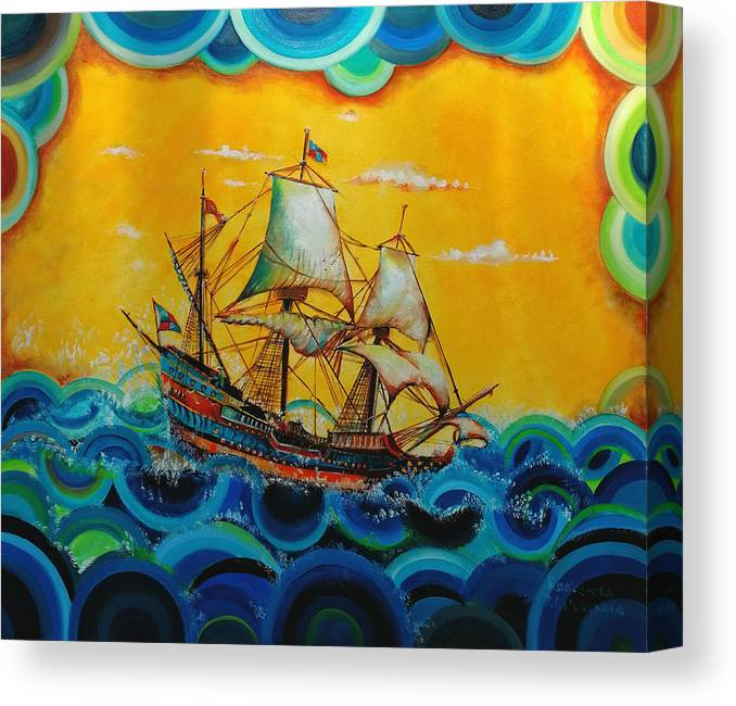 Sailors Canvas Print featuring the painting Sailors by Radosveta Zhelyazkova