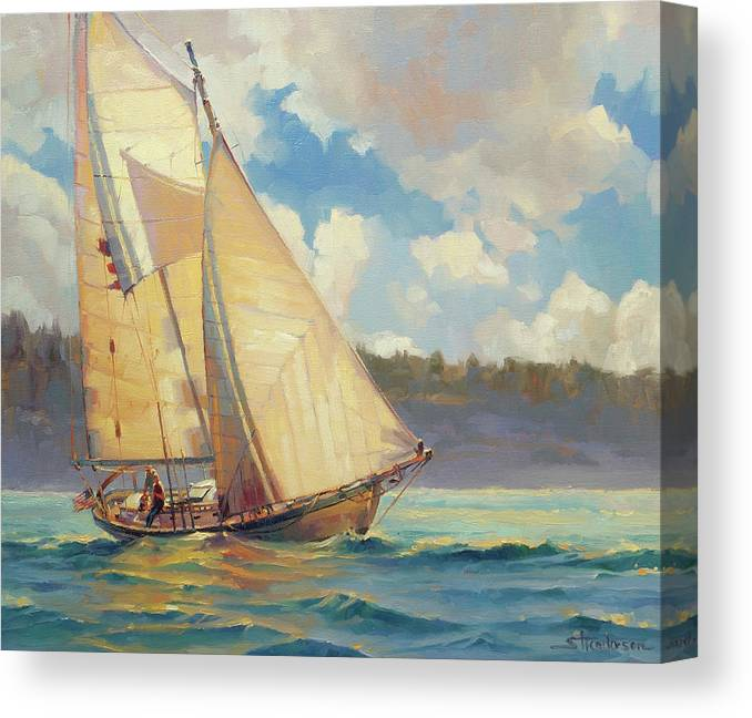 Sailboat Canvas Print featuring the painting Zephyr by Steve Henderson