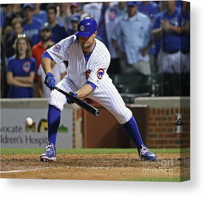 People Canvas Print featuring the photograph Seattle Mariners V Chicago Cubs 1 by Jonathan Daniel