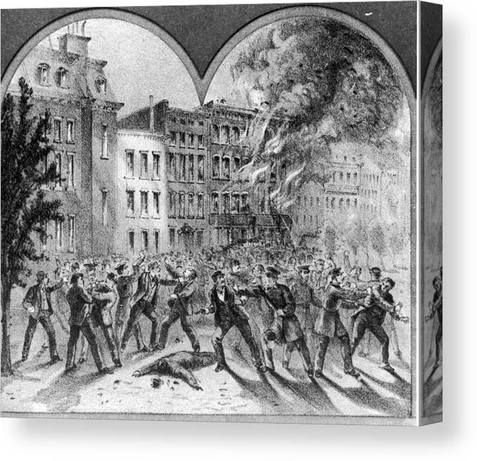 American Civil War Canvas Print featuring the photograph Draft Riots by Fotosearch