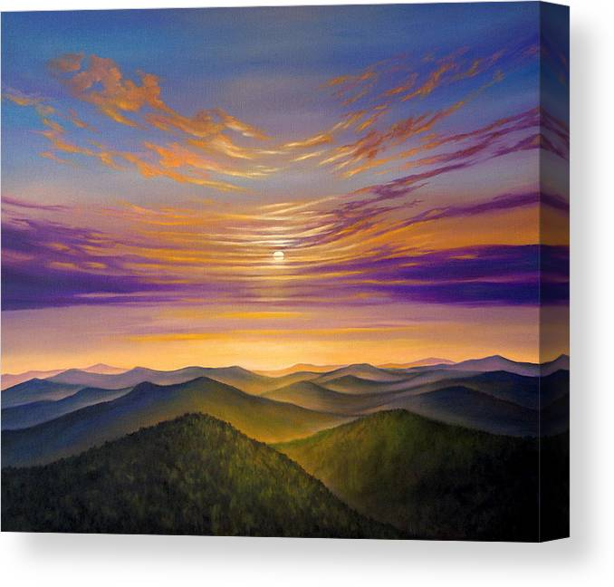 Ealism Canvas Print featuring the painting Sunset by Svetoslav Stoyanov