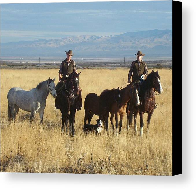Western Canvas Print featuring the photograph Mustang 'n' Cowboys by Janey Loree