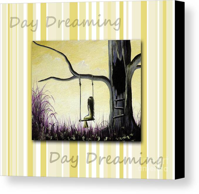 Nursery Decor Canvas Print featuring the painting Day Dreaming In Yellow By Shawna Erback by Shawna Erback