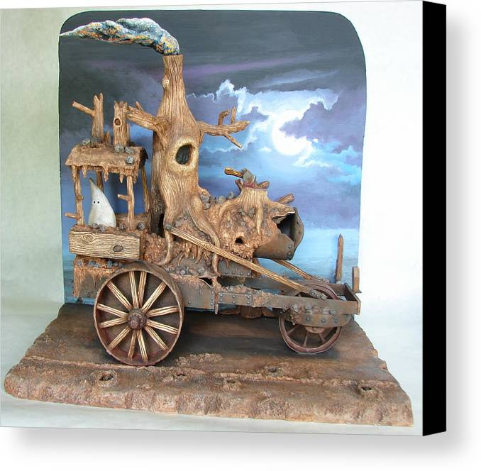 Ghost Canvas Print featuring the sculpture Ghost Tractor by Stuart Swartz
