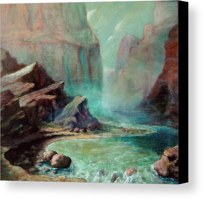 Canvas Print featuring the painting Green River by Kitty Meekins
