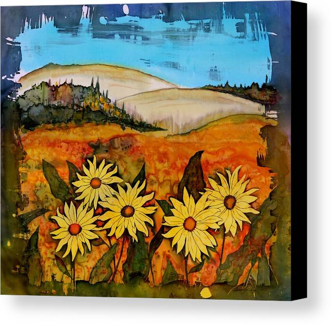 Wildflowers Canvas Print featuring the tapestry - textile Prairie Wildflowers by Carolyn Doe