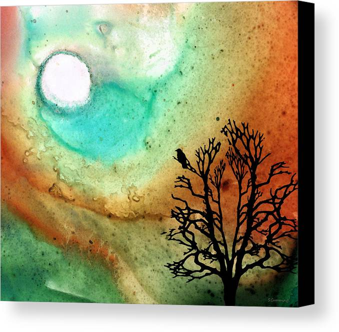 Moon Canvas Print featuring the painting Summer Moon - Landscape Art By Sharon Cummings by Sharon Cummings