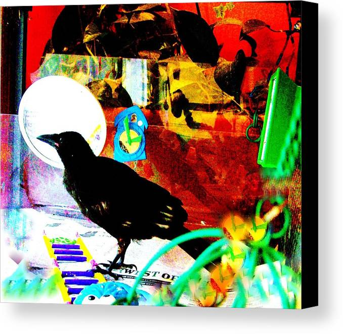 Crow. Bird Music Canvas Print featuring the mixed media Crow's Piano by YoMamaBird Rhonda