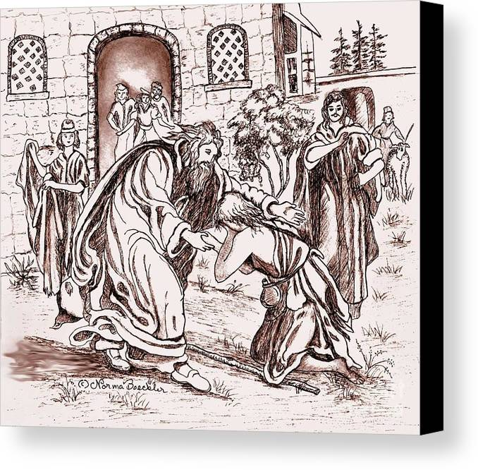 Religious Art Canvas Print featuring the drawing The Prodigal Son by Norma Boeckler