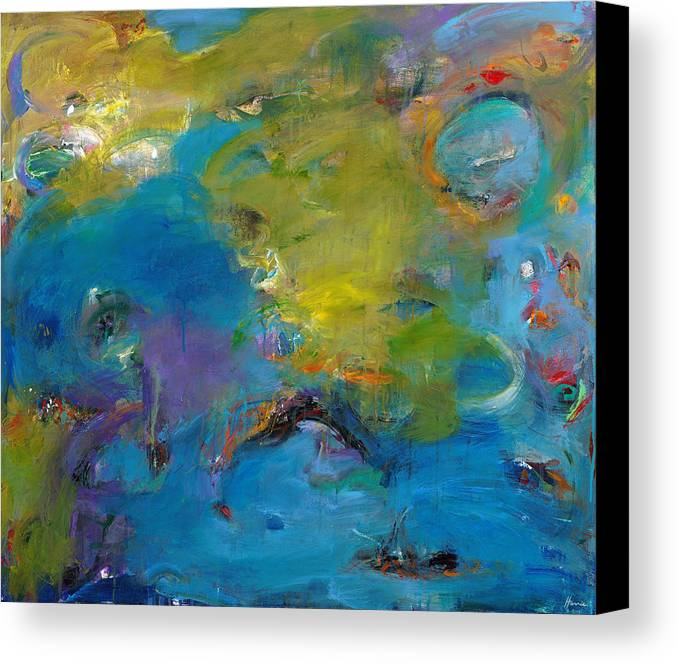 Abstract Expressionistic Canvas Print featuring the painting Still Waters Run Deep by Johnathan Harris
