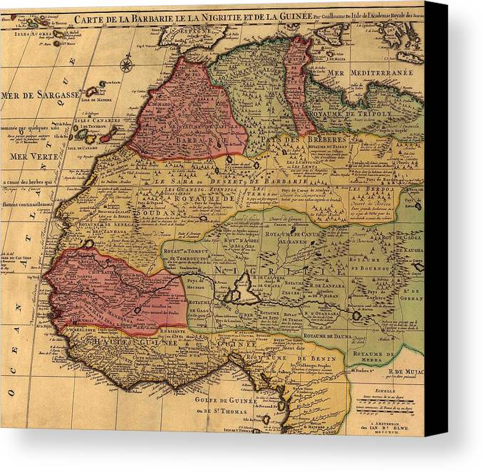 History Canvas Print featuring the photograph 1742 French Map Of Northwest Africa by Everett
