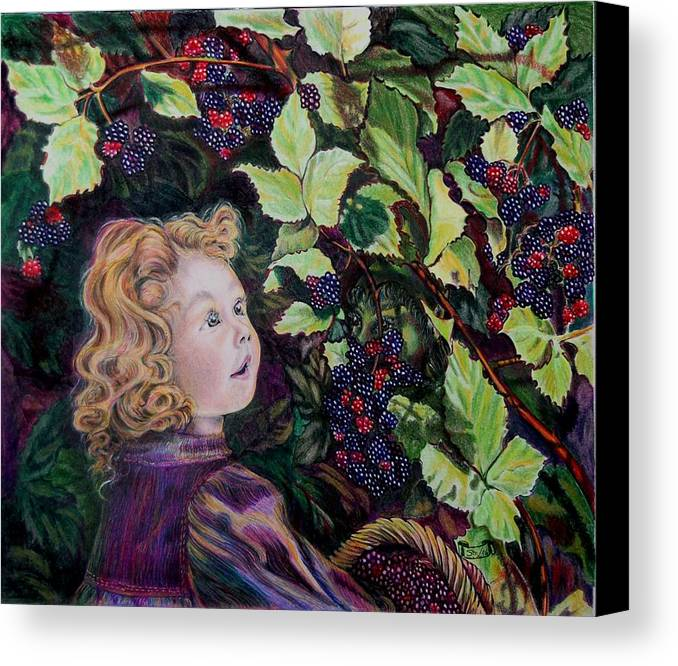 Blackberry Canvas Print featuring the drawing Blackberry Elf by Susan Moore