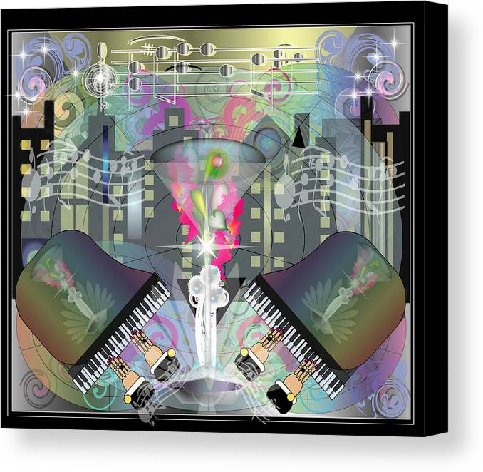 Giclee Canvas Print featuring the digital art City Night Life by George Pasini