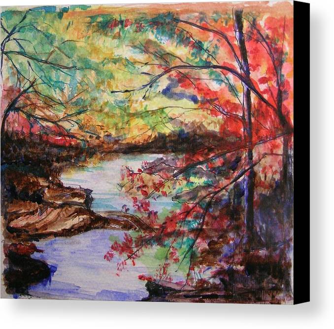 Creek Canvas Print featuring the painting Creek Blue Ridge Mountains by Lizzy Forrester