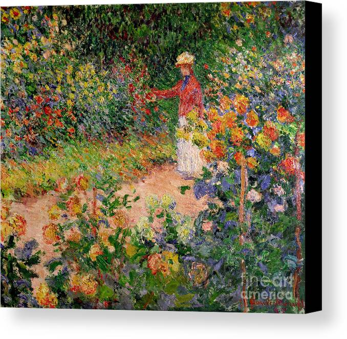 Garden At Giverny Canvas Print featuring the painting Garden At Giverny by Claude Monet