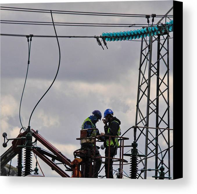 High Power Workers Canvas Print featuring the photograph High Power Workers by Dave Byrne