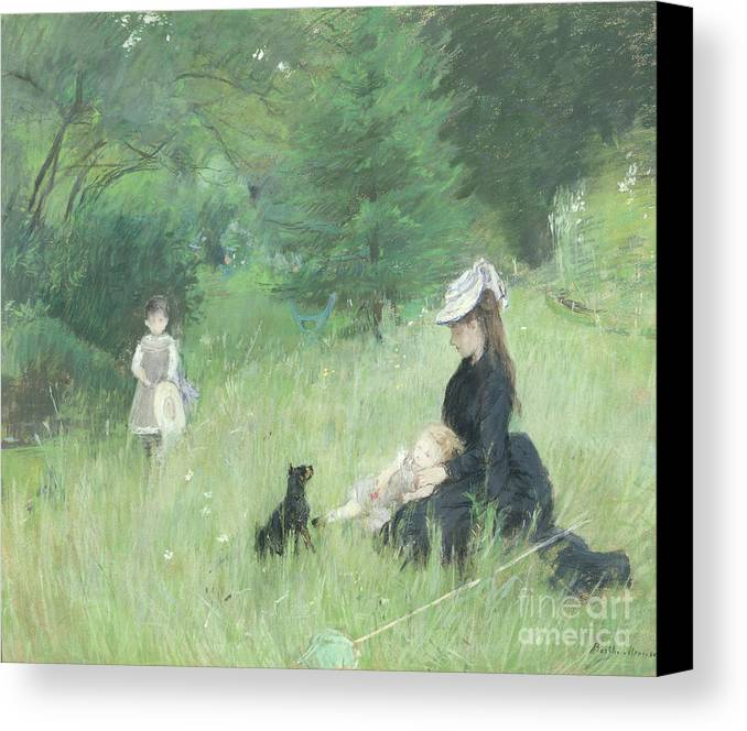 Canvas Print featuring the painting In A Park by Berthe Morisot