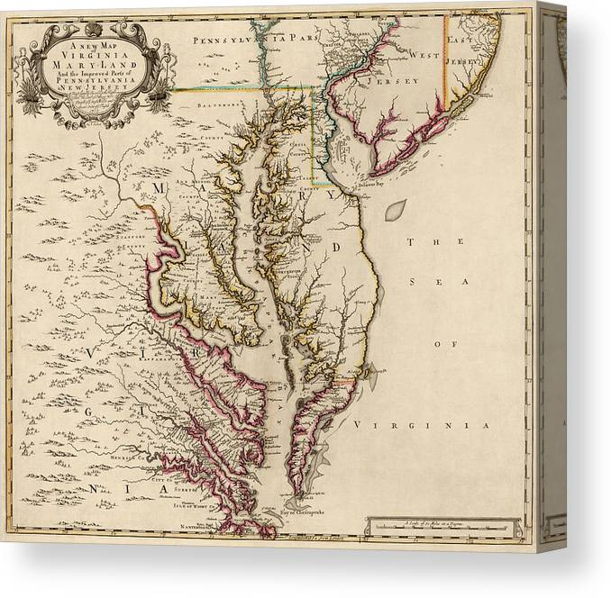 picture relating to Printable Maps of Virginia titled Antique Map Of Maryland And Virginia Via John Senex - 1719 Canvas Print