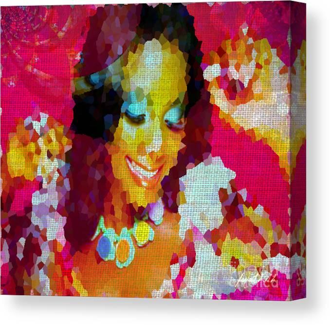 Fania Simon Canvas Print featuring the mixed media Nigerian Girl by Fania Simon