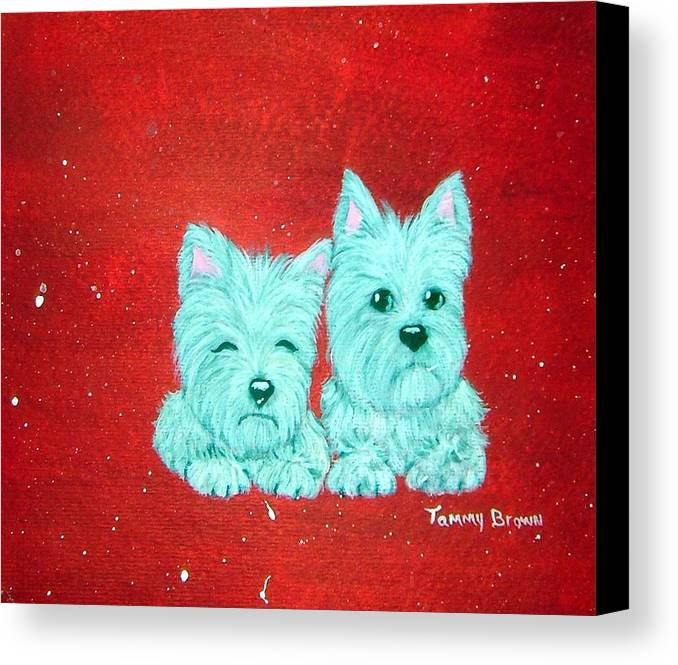 Westie Canvas Print featuring the painting Best Friends by Tammy Brown