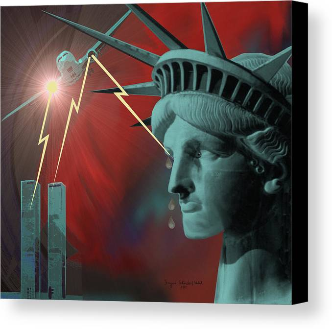 September Nine-eleven Canvas Print featuring the painting Americas Deepest Wound - 100 by Irmgard Schoendorf Welch
