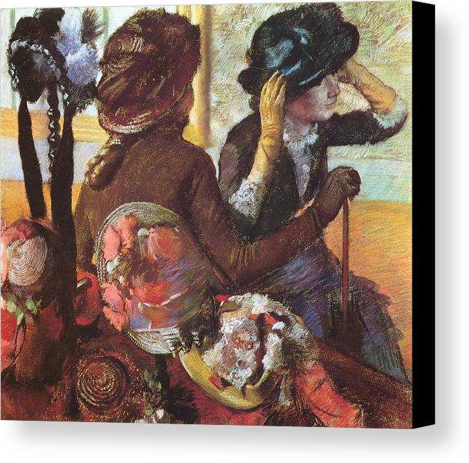 At The Milliner's Canvas Print featuring the pastel At The Milliner's by Edgar Degas