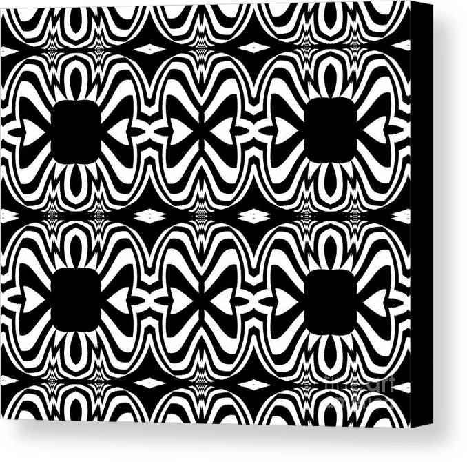 Pattern Canvas Print featuring the digital art Pattern Black White Abstract Art No.301. by Drinka Mercep