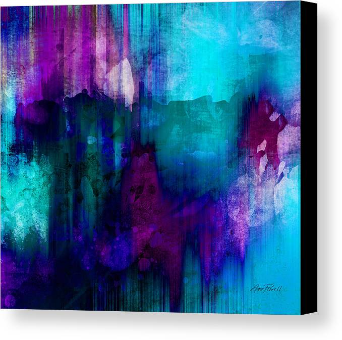 Abstract Canvas Print featuring the painting Blue Rain Abstract Art  by Ann Powell