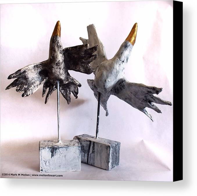 Birds Canvas Print featuring the mixed media Fabulas Free Birds by Mark M Mellon