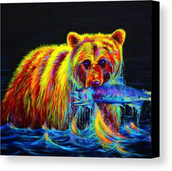 Canvas Print featuring the painting Fishing by IAMJNICOLE JanuaryLifeBrand