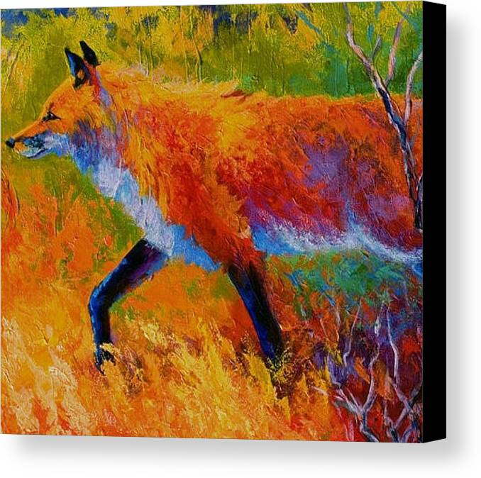 Canvas Print featuring the painting Fox Hunt by IAMJNICOLE JanuaryLifeBrand